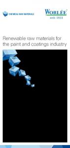 CHEMICAL RAW MATERIALS. Renewable raw materials for the paint and coatings industry