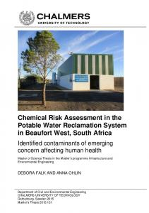Chemical Risk Assessment in the Potable Water Reclamation System in Beaufort West, South Africa