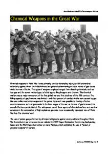 Chemical Weapons in the Great War
