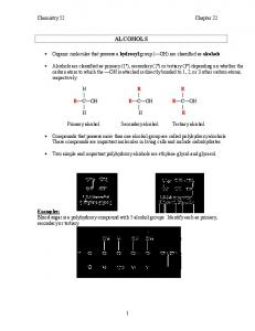 Chemistry 52 Chapter 22 ALCOHOLS