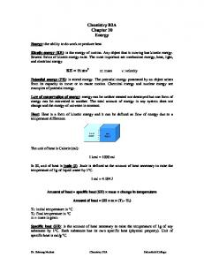 Chemistry B2A Chapter 10 Energy