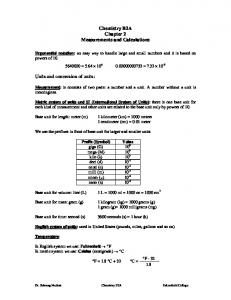 Chemistry B2A Chapter 2 Measurements and Calculations