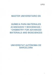 CHEMISTRY FOR ADVANCED MATERIALS AND BIOSCIENCES