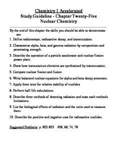 Chemistry I Accelerated Study Guideline - Chapter Twenty-Five Nuclear Chemistry