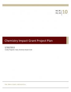 Chemistry Impact Grant Project Plan