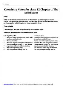 Chemistry Notes for class 12 Chapter 1 The Solid State