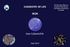CHEMISTRY OF LIFE IRON. Ioav Cabantchik