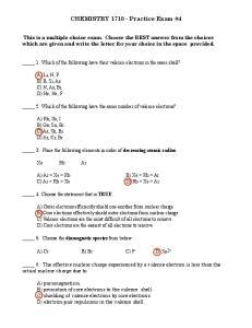 CHEMISTRY Practice Exam #4