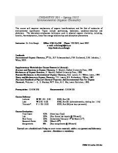 CHEMISTRY Spring 2012 Environmental Organic Chemistry