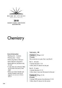 Chemistry. Total marks 100