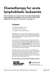 Chemotherapy for acute lymphoblastic leukaemia