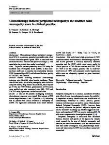 Chemotherapy induced peripheral neuropathy: the modified total neuropathy score in clinical practice