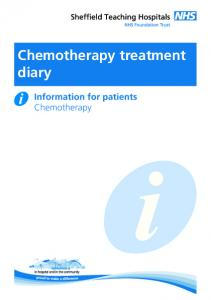 Chemotherapy treatment diary. Information for patients Chemotherapy