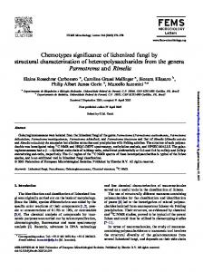 Chemotypes significance of lichenized fungi by structural characterization of heteropolysaccharides from the genera Parmotrema and Rimelia