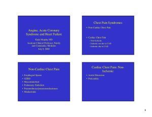 Chest Pain Syndromes. Angina, Acute Coronary Syndrome and Heart Failure. Cardiac Chest Pain: Non- Ischemic. Non-Cardiac Chest Pain