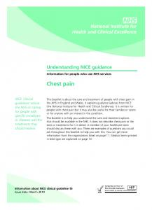 Chest pain. Understanding NICE guidance