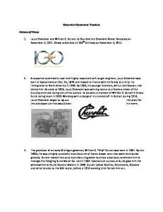 Chevrolet Centennial Timeline