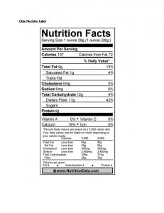 Chia Nutrition Label