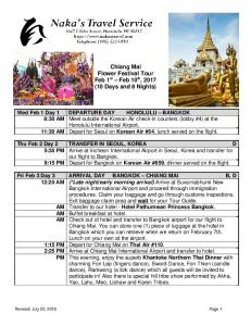 Chiang Mai Flower Festival Tour Feb 1 st Feb 10 th, 2017 (10 Days and 8 Nights)