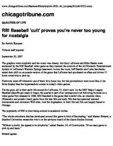 chicagotribune.com RBI Baseball 'cult' proves you're never too young for nostalgia