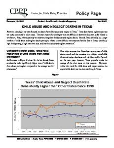 CHILD ABUSE AND NEGLECT DEATHS IN TEXAS
