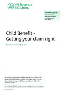 Child Benefit Getting your claim right