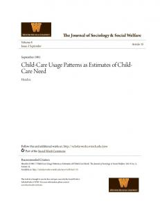 Child-Care Usage Patterns as Estimates of Child- Care Need