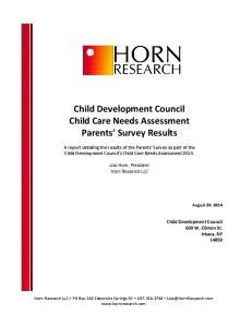 Child Development Council Child Care Needs Assessment Parents Survey Results