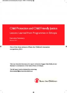 Child Protection and Child Friendly Justice: