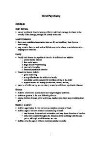 Child Psychiatry. Aetiology