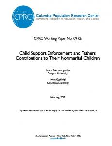 Child Support Enforcement and Fathers Contributions to Their Nonmarital Children