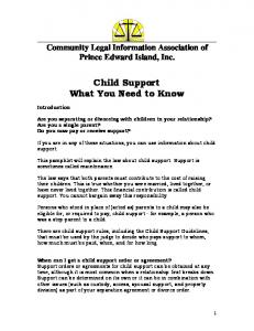 Child Support What You Need to Know