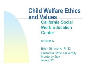 Child Welfare Ethics and Values