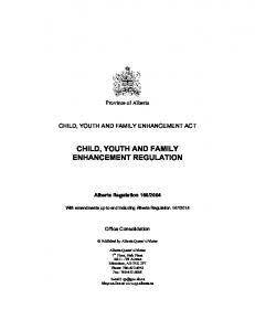 CHILD, YOUTH AND FAMILY ENHANCEMENT REGULATION