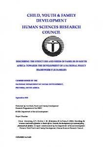 CHILD, YOUTH & FAMILY DEVELOPMENT HUMAN SCIENCES RESEARCH COUNCIL