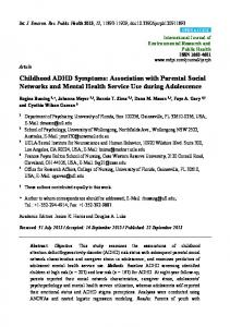Childhood ADHD Symptoms: Association with Parental Social Networks and Mental Health Service Use during Adolescence