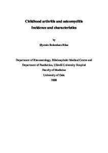 Childhood arthritis and osteomyelitis Incidence and characteristics