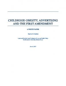 CHILDHOOD OBESITY, ADVERTISING AND THE FIRST AMENDMENT