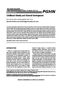Childhood Obesity and Pubertal Development