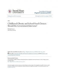 Childhood Obesity and School Food Choices: Should the Government Intervene?