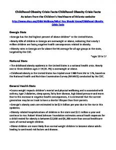 Childhood Obesity Crisis Facts Childhood Obesity Crisis Facts