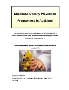Childhood Obesity Prevention. Programmes in Auckland