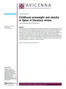 Childhood overweight and obesity in Qatar: A literature review