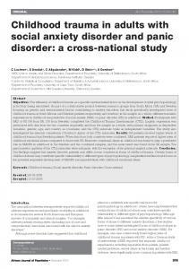 Childhood trauma in adults with social anxiety disorder and panic disorder: a cross-national study
