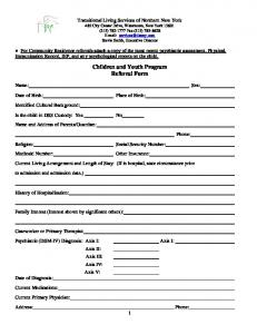Children and Youth Program Referral Form