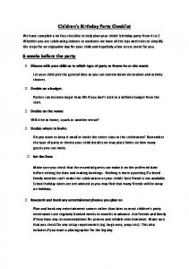Children s Birthday Party Checklist