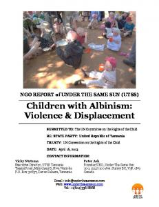 Children with Albinism: Violence & Displacement