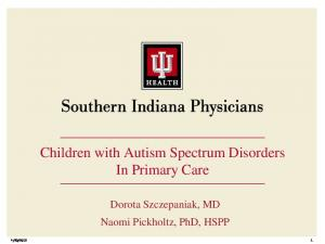 Children with Autism Spectrum Disorders In Primary Care