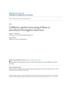 Children's cognitive processing of abuse as described in investigative interviews