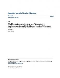 Children's knowledge, teachers' knowledge: Implications for early childhood teacher education
